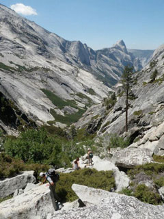 People hiking down Tenaya Canyon