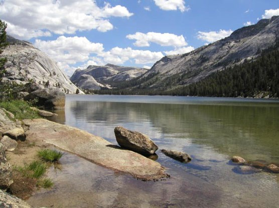 Dome rise behind Tenaya Lake