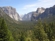 El Capitan to the left, Bridaveil Fall to the right, and the rest of Yosemite Valley behind