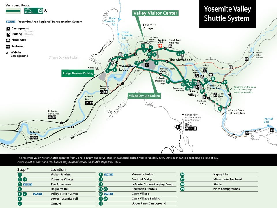 Map showing shuttle route in Yosemite Valley