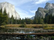 Beyond the Merced River are El Capitan (left) and Bridalveil Fall (right)