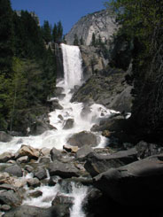 Wide Vernal Fall with Merced River in foreground