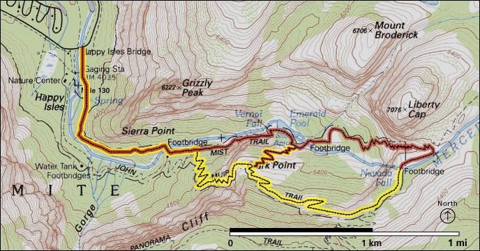 Vernal Fall and Nevada Fall Trails  Yosemite National Park US
