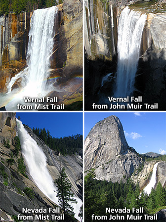 Views of Vernal Fall and Nevada Fall from each trail