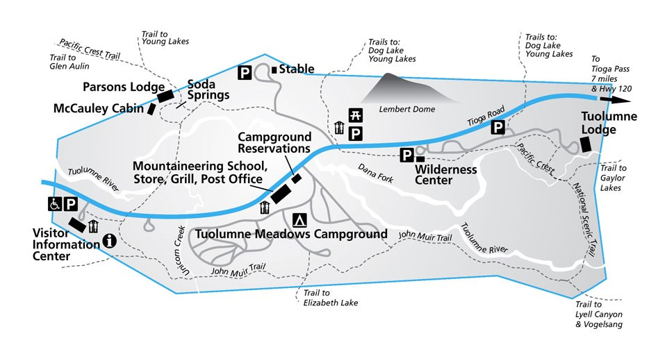 Map showing Tuolumne Meadows Wilderness Center, near Tuolumne Meadows Lodge