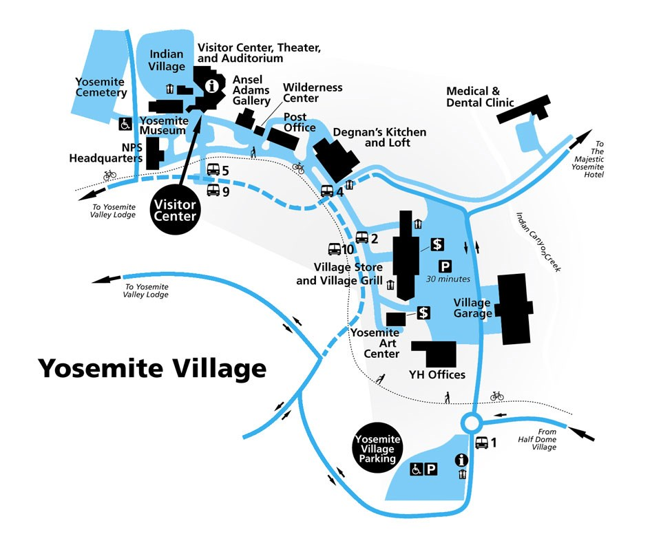 Map of Yosemite Village showing wilderness center in the northeastern part of the village, near the post office