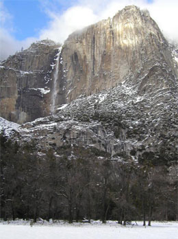 Yosemite waterfall in winter.
