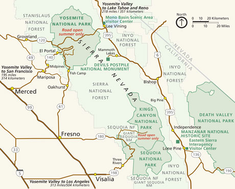 Map showing area surrouding Yosemite