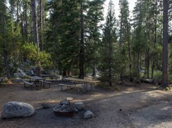 Picnic tables at Yosemite Creek Picnic Area