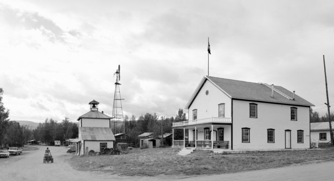 The courthouse and other historic buildings in Eagle, Alaska.