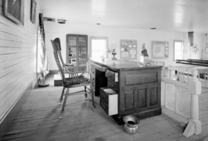 The well preserved courtroom, including Wickersham's desk in Eagle, Alaska.