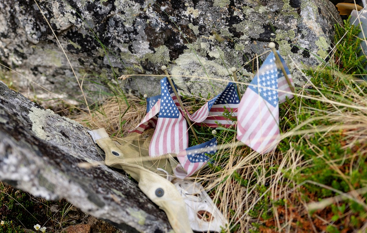Flags left to honor the fallen at B-24 crash site.