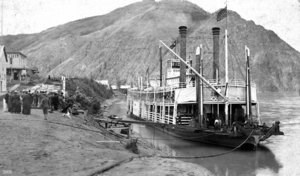 Steamer at historic Eagle City riverfront.