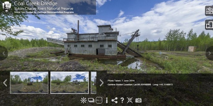 Screen capture of an interactive map that highlights some of the unique historic sites in Yukon-Charley Rivers through virtual panotours.