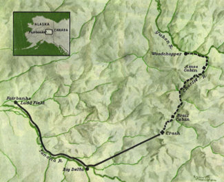 Route of B-24 flight and Lt. Crane's survival trek.