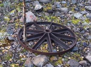 A remnant wheel from the steam boiler at Cheese Creek.