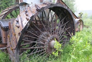 One of the Washington Creek Steam Traction Engine drive wheels.