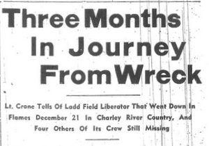 Historic newspaper clipping about Crane's ordeal.