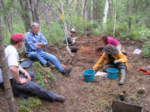 Isaac Juneby discussing life at Snare Creek during the excavation of his childhood home in 2009.