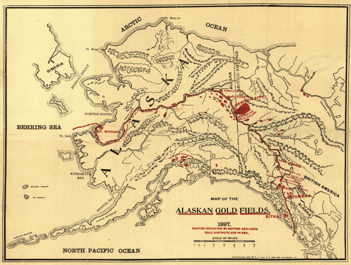 KlondikeAlaska Gold Rush Yukon Charley Rivers National - Map of gold in the us