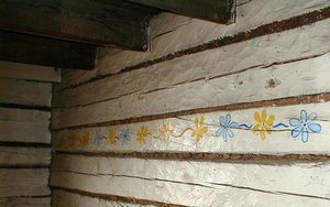 Flowers on the wall; painted decoration inside Slaven's Roadhouse.