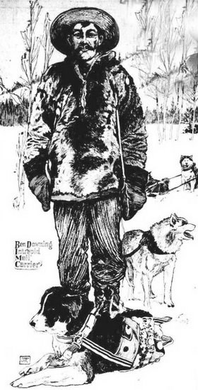 Drawing of Ben Downing and dogs from a Seattle Newspaper in 1903.