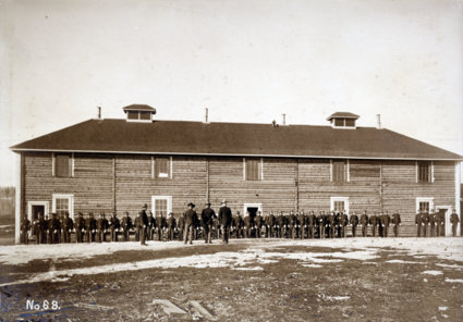 Soldiers at new Fort Egbert barracks, 1899.