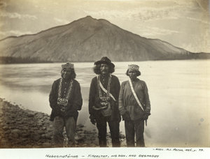 Three Tanana Athapascans near modern day Eagle Village, circa 1885.