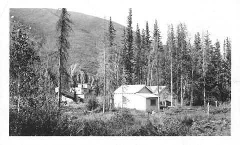 The newly constructed Coal Creek dredge and camp at Cheese Creek, ca. 1935.