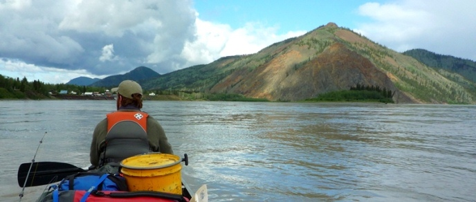 Eagle Bluff, viewed from a canoe on the Yukon River