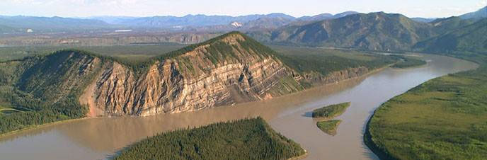 Aerial view of Calico Bluff & the Yukon River