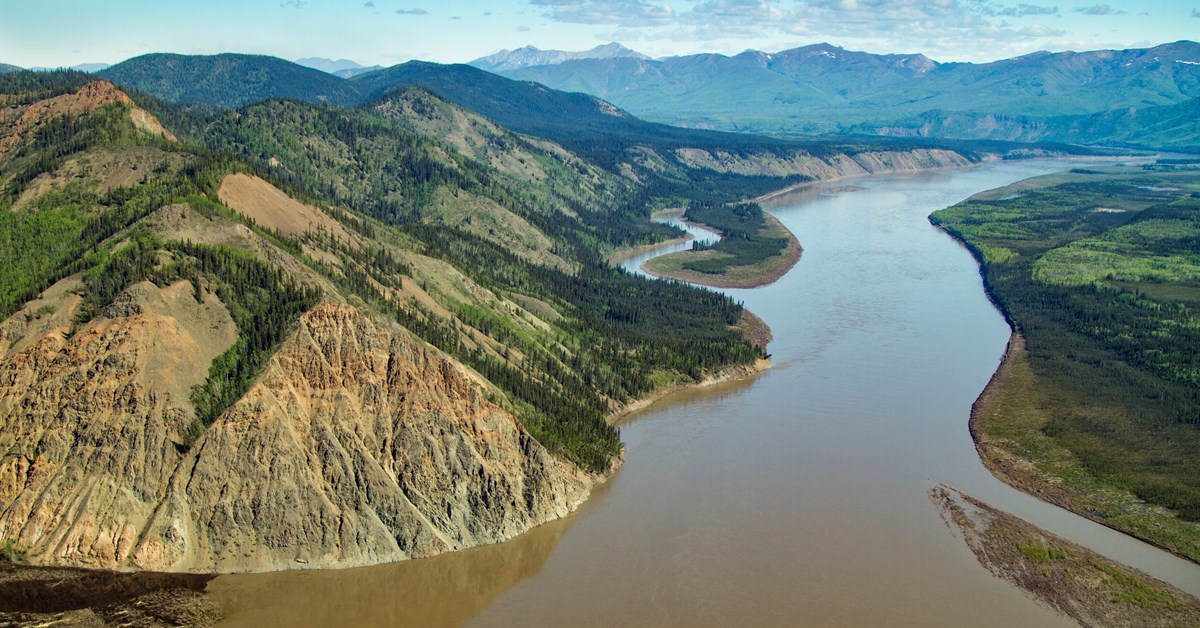 Aerial view of the Yukon River and bluffs below Eagle, Alaska