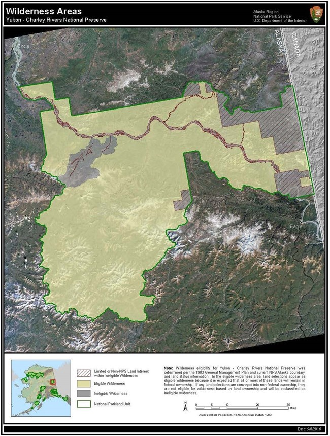 Map of Yukon-Charley Rivers depicting area of eligible Wilderness designation