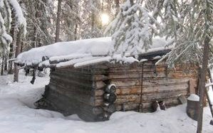 The Washington Creek Cabin in winter