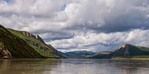 Clouds over the Yukon River & limestone bluffs