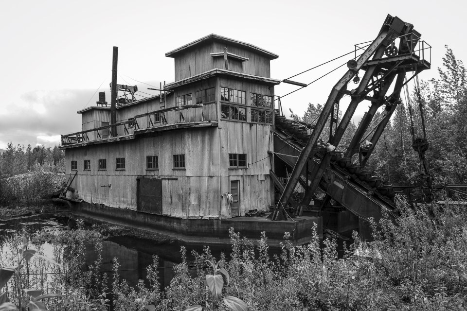 Black and white photograph of the Coal Creek Dredge