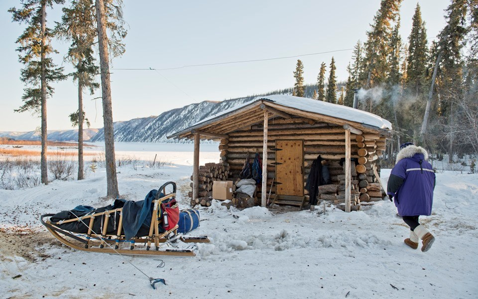 A musher and dogsled at the Kandik River Public Use Cabin