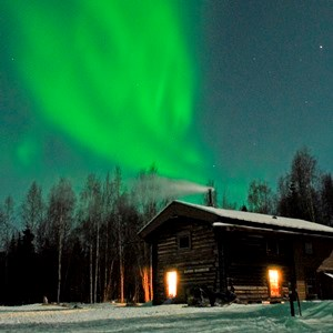 The aurora over Slaven's Roadhouse