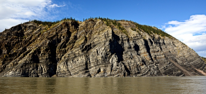 The exposed layers of massive Calico Bluff