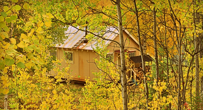 A public use cabin as viewed through the trees and fall colors