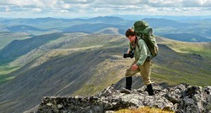 A hiker on a high ridgeline