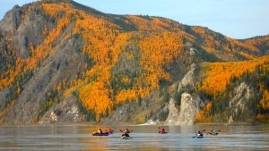 Kayaks on the Yukon River in fall