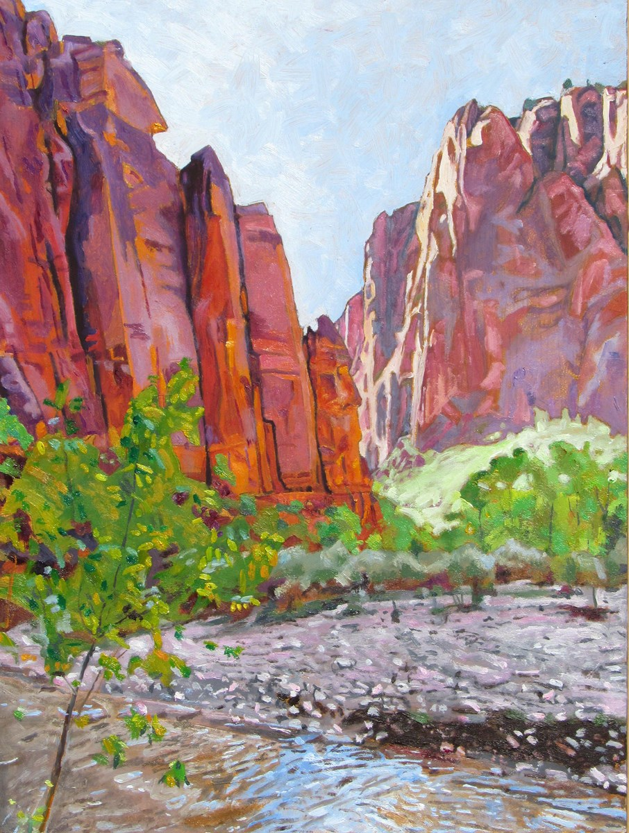 Vibrant oil paint illustrating the Virgin River and red rocks of the canon wall with bright green trees along the edge of the riverbank.