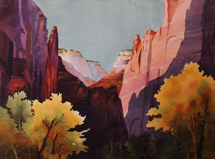 watercolor painting of canyon walls and yellow trees