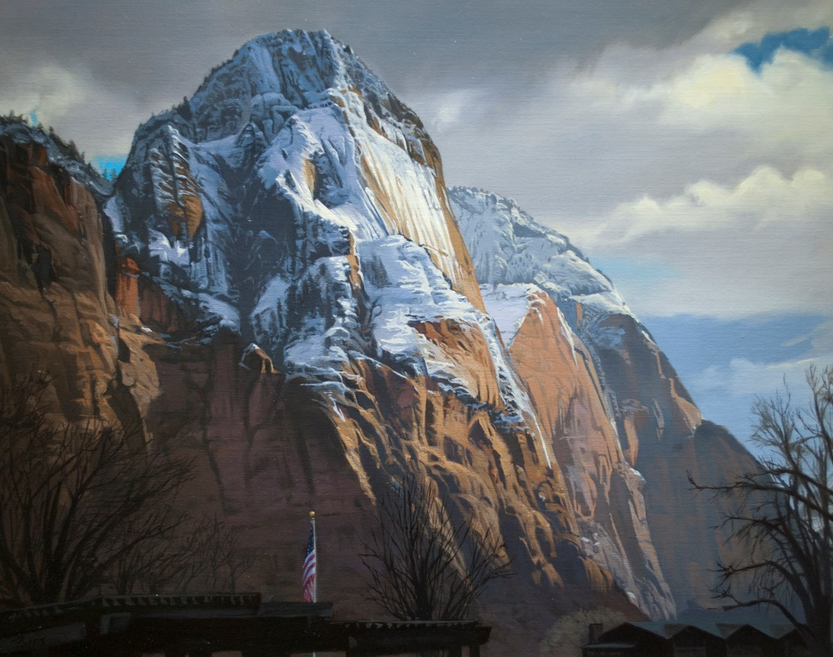 Oil painting of a steep sided mountain with snow on it.