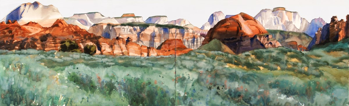 A watercolor landscape of sunset ranch near Zion National Park