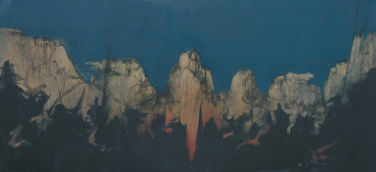 Painting of canyon walls with a dark blue sky