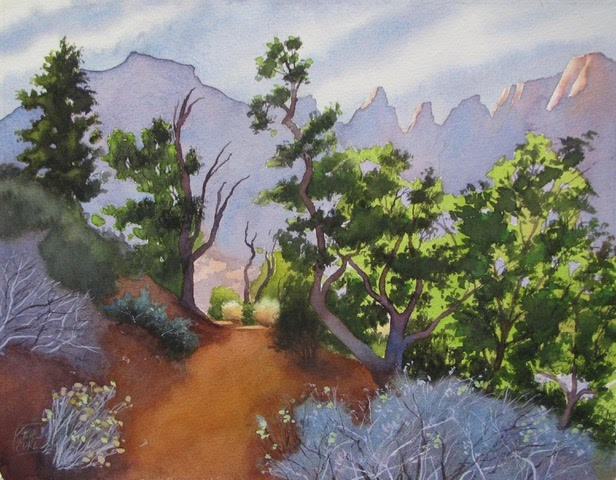 Watercolor painting of a trail and trees with mountains in the background