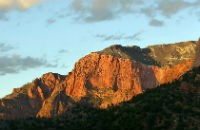 sunset light on the cliffs of Kolob
