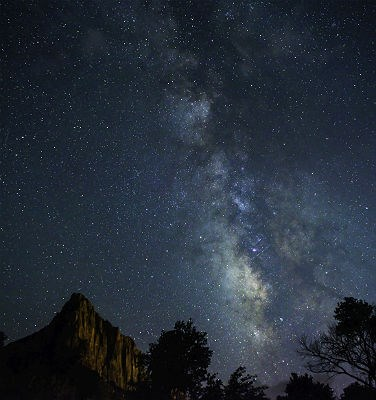 stars and the Milky Way above The Watchman